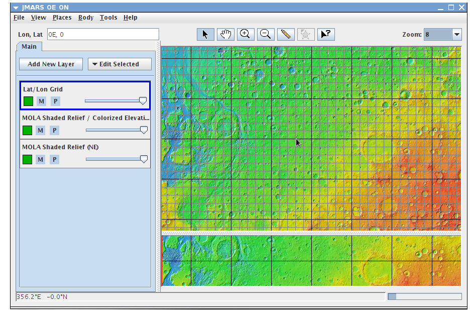 Lat/Lon Grid Layer   JMARS - Java Mission-planning and Analysis for